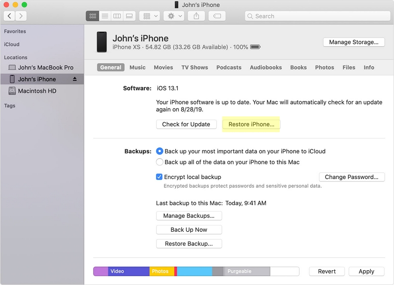 Restore iPhone to Factory Settings using iTunes