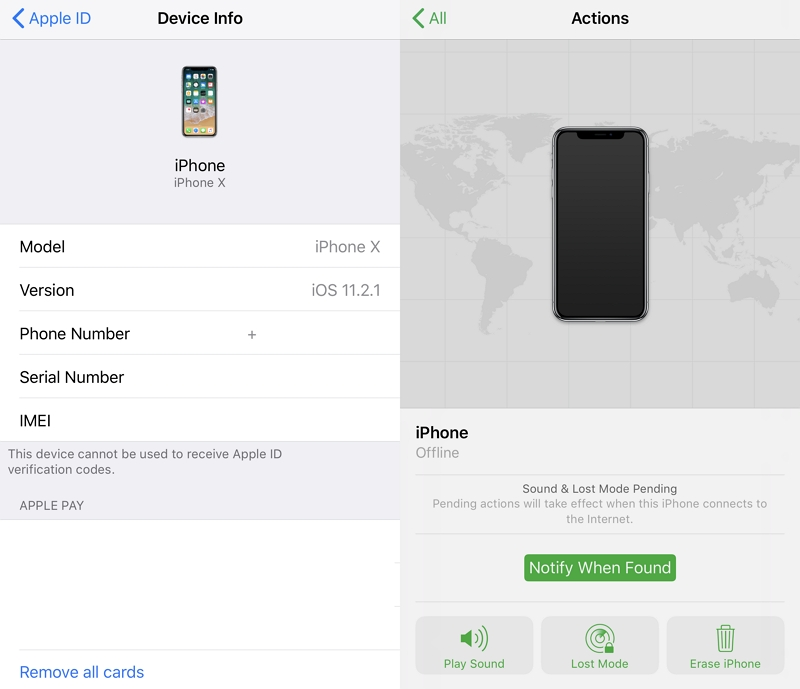 Disable Find My iPhone with the App