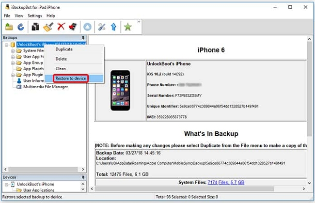 Restore to device