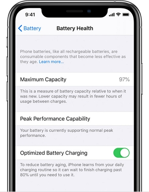 Turn on optimized battery charging