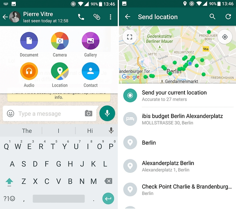 Change Location Directly in WhatsApp